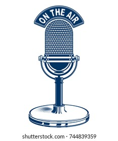 Retro studio microphone vector illustration. Radio broadcasting concept. On the air.