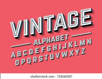 Retro style 3d alphabet, vector illustration