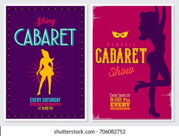 Retro Style 70's 80's 90's Vintage Cabaret Poster with Beautiful Female Dancer silhouette and Bright Colors
