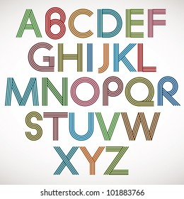 Retro style alphabet, striped letters vector typeface.