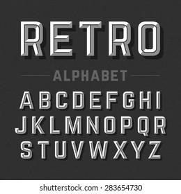 Retro style alphabet vector illustration