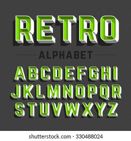 Retro style alphabet vector illustration