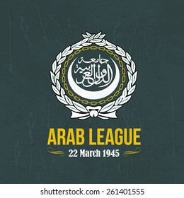 "Retro Style Arab League Vector Flat Emblem, Arabic Typographic Text English Translation ""League of Arab States"""