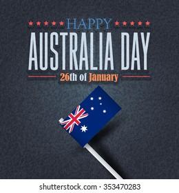 Retro Style Australia Day Background, National Celebration Card, Grunge Background, Badges Vector Emblem