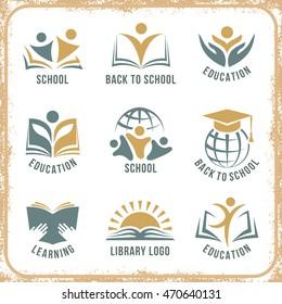 Retro style back to school logos set flat isolated vector illustration