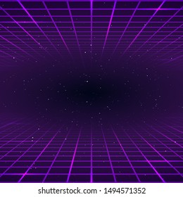 Retro style background. Laser rays purpur color. Cosmic or universe infinity. vector illustration