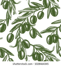 Retro style background. Vector vintage illustration with olive fruits bunch and olive branches with leaves isolated on white background. Sketch hand drawn olives. Seamless pattern.