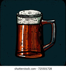 Retro style beer mug engraving. Red ale Indian pale ale American Local brewery. Vintage engraving illustration for invitation to oktoberfest fest. Pint old engraving imitation hand drawn Vector