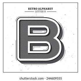 Retro style big letter B icon