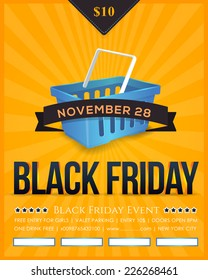 Retro Style Black Friday Sale Poster, Flyer, Advertising Template