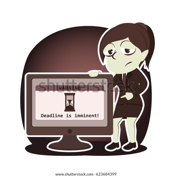 retro style businesswoman showing deadline reminder from monitor