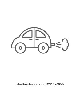Retro Style Car With Exhaust Pipe Fumes  Outline Vector Icon
