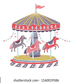 Retro style carousel, roundabout or merry-go-round with adorable horses isolated on white background. Amusement ride for children or kids decorated with star garlands. Cartoon vector illustration.