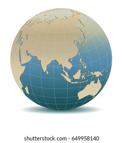 Retro Style China, Japan, Malaysia, Thailand, Indonesia, Global World, Elements of this image furnished by NASA