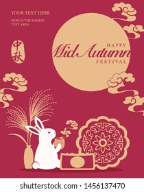 Retro style Chinese Mid Autumn festival cute rabbit sitting drinking hot tea and enjoying the beautiful full moon. Translation for Chinese word : Mid Autumn