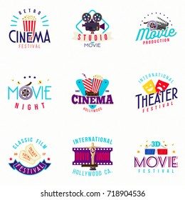 Retro Style Cinema and Theater Badges Design with 70's 80's 90's Fashion Elements Popcorn Film Ticket Vector Illustration Ideal for Banner Poster Web Ads