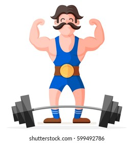 Retro style circus strong man with mustache character with heavy metal barbell. Funny muscular bodybuilder colorful cartoon flat vector illustration
