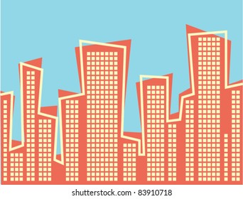 Retro Style Cityscape - Vector Illustration.  High Resolution JPEG also available.
