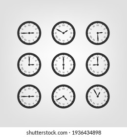 Retro style clock vector silhouettes isolated on white background