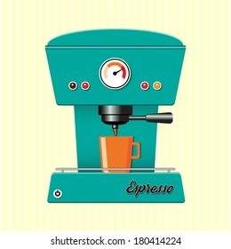 Retro style coffee maker on candy-stripe background. EPS10 vector format