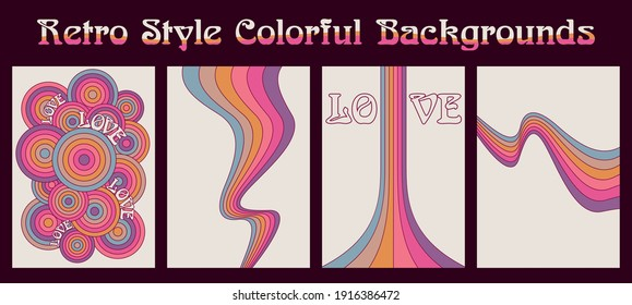 Retro Style Colorful Backgrounds, Love and Colors