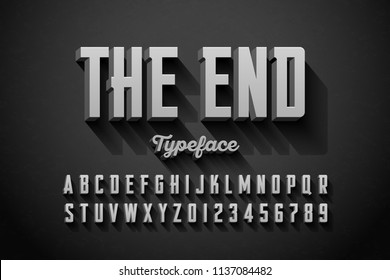 Retro style condensed 3d font, The End title vector illustration