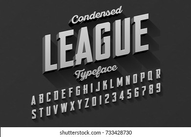 Retro style condensed typeface, vintage alphabet vector illustration