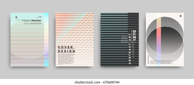 Retro style covers templates set. Futuristic, pixels and memphis patterns and elements for posters, placards, banners, flyers or brochures designs. Vector illustrations.