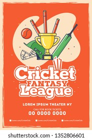 Retro style cricket league flyer with winning trophy, stumps, helmet, bat and ball on orange background.