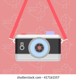 Retro style digital camera logo or icon, vector