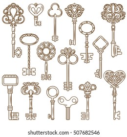 Retro style door and clock keys with outline and decorative pattern isolated on blank background flat vector illustration