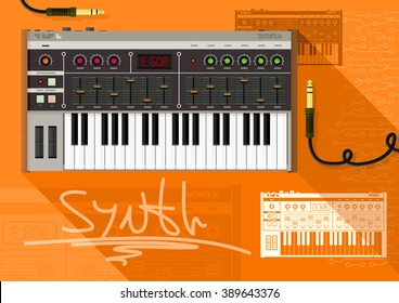 Retro style electronic synthesizer (synth). Vector illustration.
