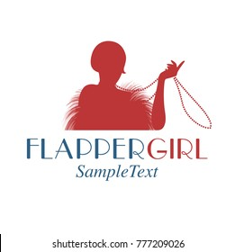 Retro style emblem representing a flapper girl playing with her necklace