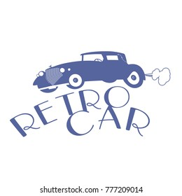 Retro style emblem representing a typical car from the 20s