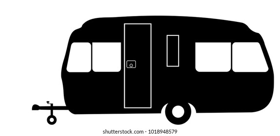 A retro style family caravan silhouette isolated on a white background