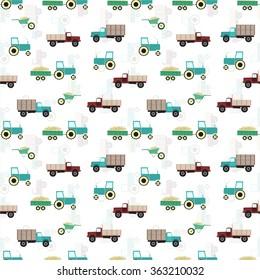 Retro style farming illustration. Seamless pattern isolated on white. EPS 10