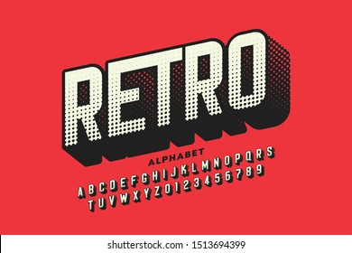 Retro style font, retro alphabet, letters and numbers vector illustration