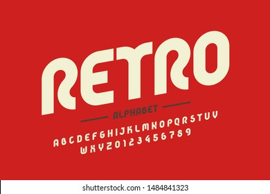 Retro style font design, eighties inspired alphabet letters and numbers, vector illustration