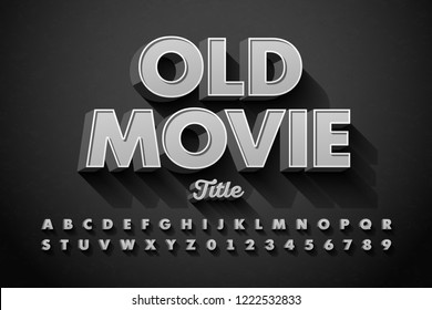 Retro style font, Old Movie title screen, alphabet letters and numbers vector illustration