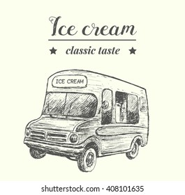 Retro style food truck,hand drawn,sketch style,isolated,vector,illustration.