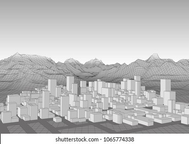 Retro style futuristic landscape with a modern city , mountains and realistic sky. Vector illustration