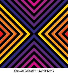 Retro 1980-1990's style geometric seamless pattern. Vector abstract graphic texture with square tiles, diagonal lines, stripes, rhombuses, chevron. Trendy cover background in bright rainbow colors