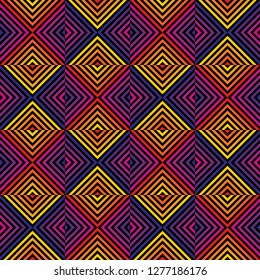 Retro 1980-1990's style geometric seamless pattern. Vector abstract graphic texture with square tiles, diagonal lines, stripes, rhombuses, chevron. Trendy repeated background in bright rainbow colors