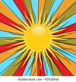 Retro style graphic with sun and rays in colors, abstract art.