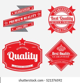 retro style grunge effect premium quality labels in red