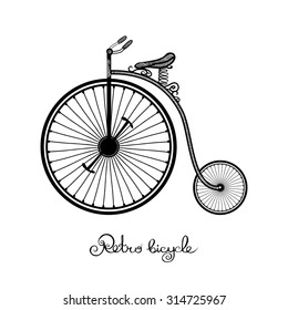 Retro style hand drawn circus bicycle with big front wheel vector illustration