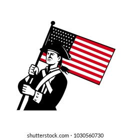 Retro style illustration of an American patriot or minuteman holding a star spangled banner or stars and stripes USA flag on isolated background.