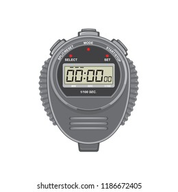 Retro style illustration of a  digital stopwatch or timer and counting up to one millisecond on isolated background.