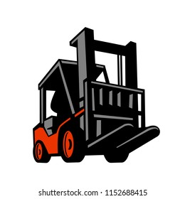 Retro style illustration of forklift truck or industrial truck viewed from a low angle on isolated background.