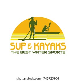 Retro style illustration of person on stand up paddle or sup as well as paddling on kayak canoe set inside half circle with words SUP and Kayak Water Sports on isolated background.